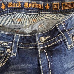 Rock Revival Jeans - Rock Revival Distressed Becky Capri Size 32